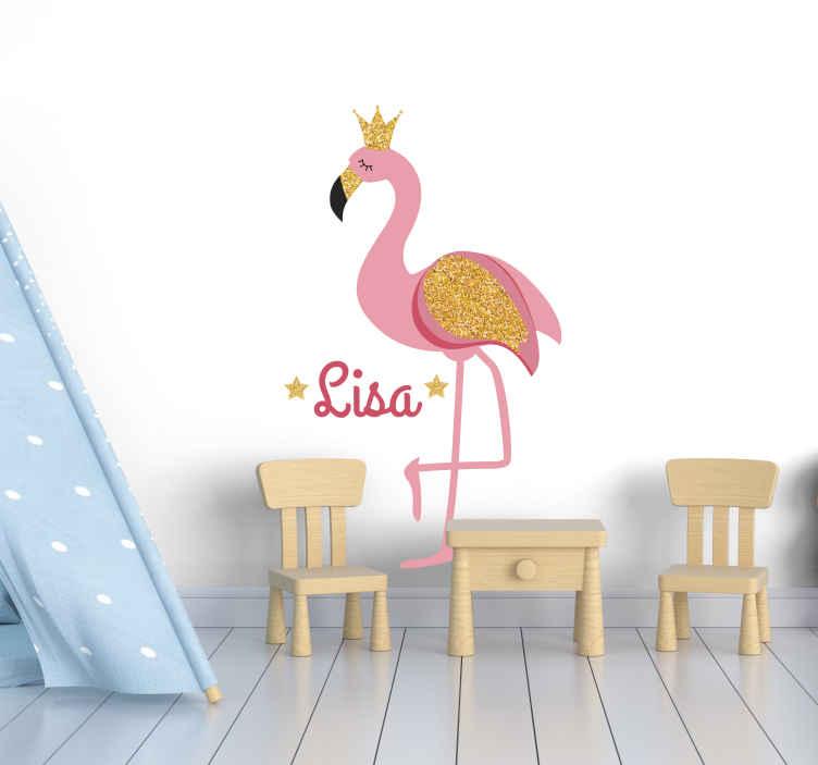 TenStickers. Muurstickers vogels Flamingo met naam. Personaliseer uw kinderkamer met een gepersonaliseerde flamingo met kroon sticker! Er is geen enkele manier waarop ze er niet van zullen houden! Perfect zonder residu na verwijdering.