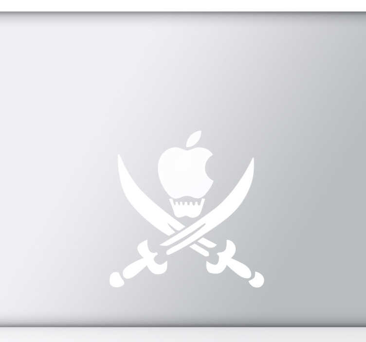 TenStickers. Pirate Skull Apple Mac Sticker. A MacBook sticker that illustrates an apple skull with two sharp swords from our collection of pirate wall stickers.