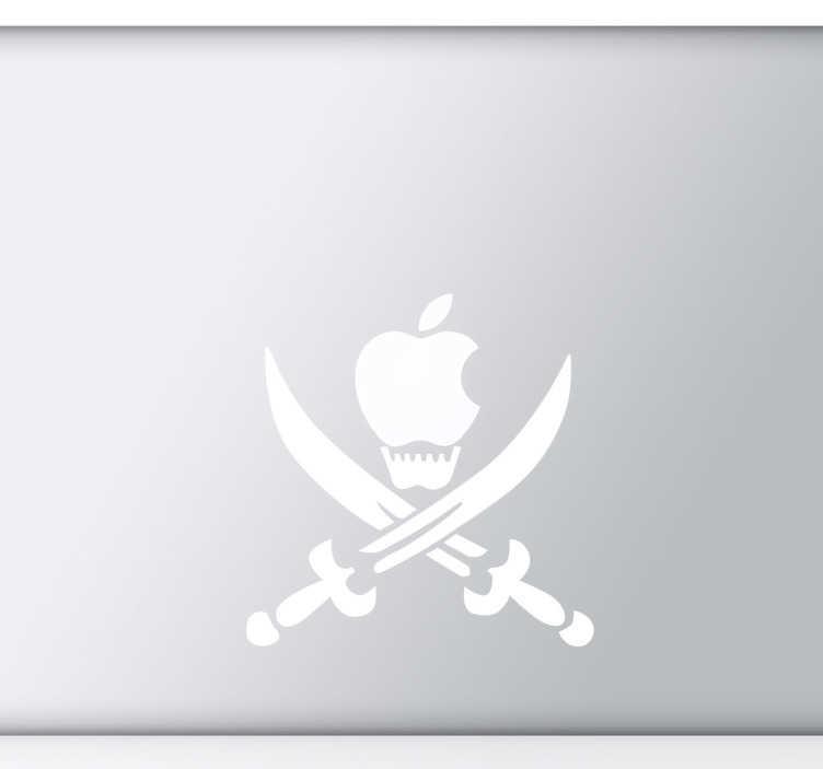 TenStickers. Sticker laptop doodshoofd zwaarden. Deze laptopsticker omtrent het doodshoofd symbool met twee zwaarden kruislinks onder het Apple logo. Originele decoratie!
