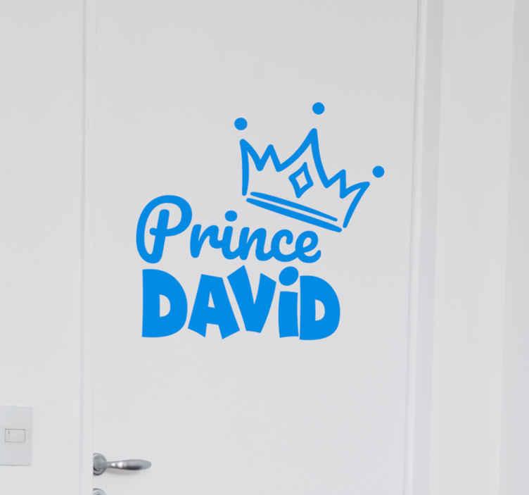 TENSTICKERS. 名前ガラスドアデカールと王子の王冠. 子供のためのカスタマイズ可能な王子の王冠のステッカー。任意の名前でカスタマイズ可能な例示的な王冠のステッカー。さまざまな色でご利用いただけます。