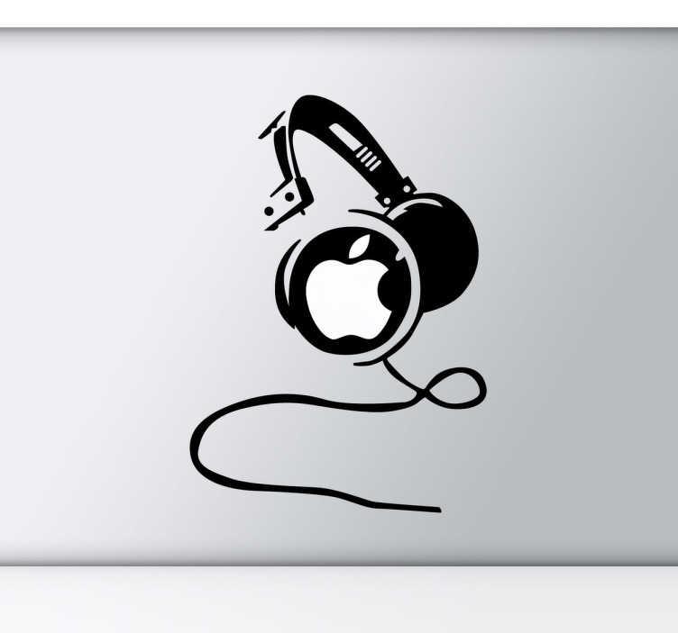 TenVinilo. Vinilo decorativo auriculares mac. Diseño exclusivo para dispositivos Apple de unos auriculares con el famoso logo de la manzana de los de Cupertino.