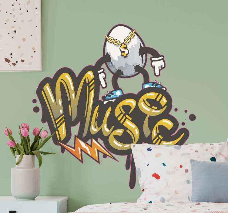 "TenVinilo. Vinilo de graffiti de música rapera. Si eres un amante del arte urbano y de la música rap, este vinilo graffiti con frase ""music"" y dibujo rapero es para ti ¡Decora a tu gusto!"