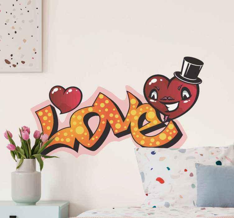 TENSTICKERS. 落書きバブルアーバンデカールが大好き. 象徴的な顔を持つ「愛」のテキストとハートのデザインの装飾的な都市のテキストビニールデカールデザインの碑文。それは自己接着性で高品質です。