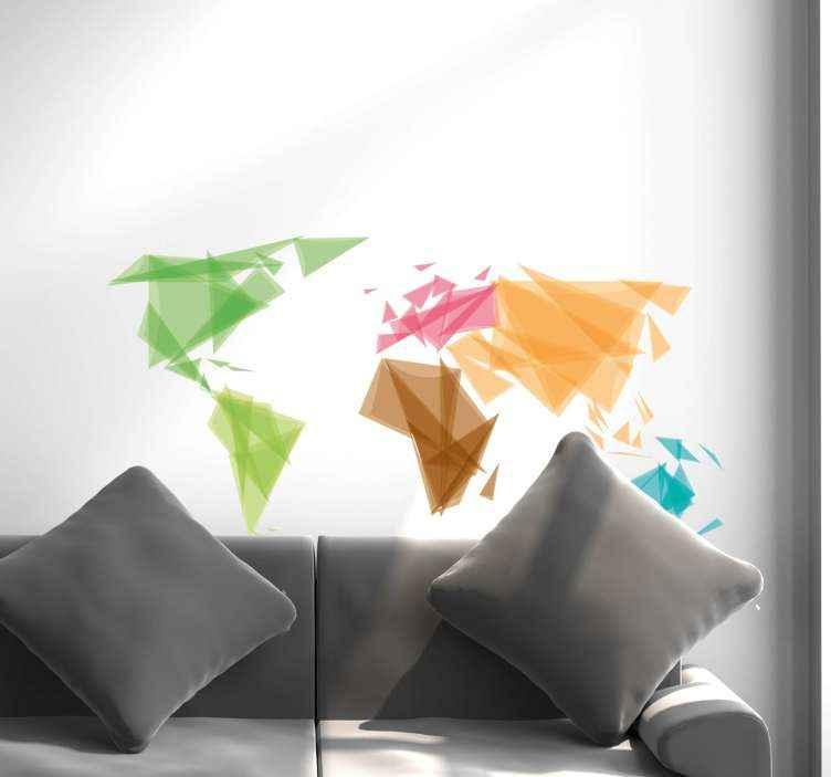 TenVinilo. Vinilo pared mapamundi colorido geométrico. Hermoso vinilo pared mapamundi diseñado en patrón geométrico. Patrón origami de diferentes colores ¡Envío a domicilio!