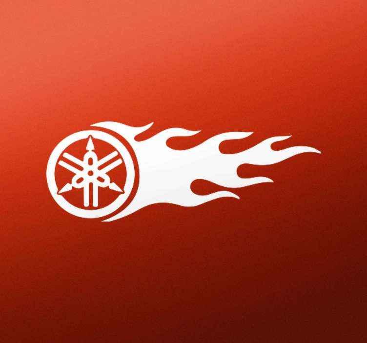 TenStickers. Autocolante decorativo para motas produtoyamaha com chama. produtoyamaha decorado com uma chama. autocolante de vinil de alta qualidade para embelezar qualquer veículo. é à prova de bolhas e rugas.