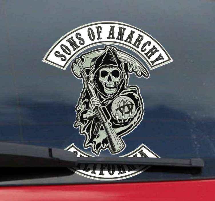TenStickers. Autocollant Moto Vélo à thème fils de l'anarchie. Vivez pleinement votre amour pour cette série et donnez une ère de moteur à votre intérieur avec ce sticker autocollant pour moto. Livraison à domicile!