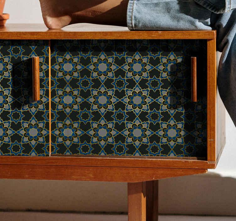 TenStickers. Sticker Deco Meuble étoile, sticker de mandala de fleur. Étoile, stickers meuble de sticker de mandala de fleur pour embellir votre meubles. Il peut être utilisé pour les meubles de salon, chambre à coucher, salle de bain, etc.