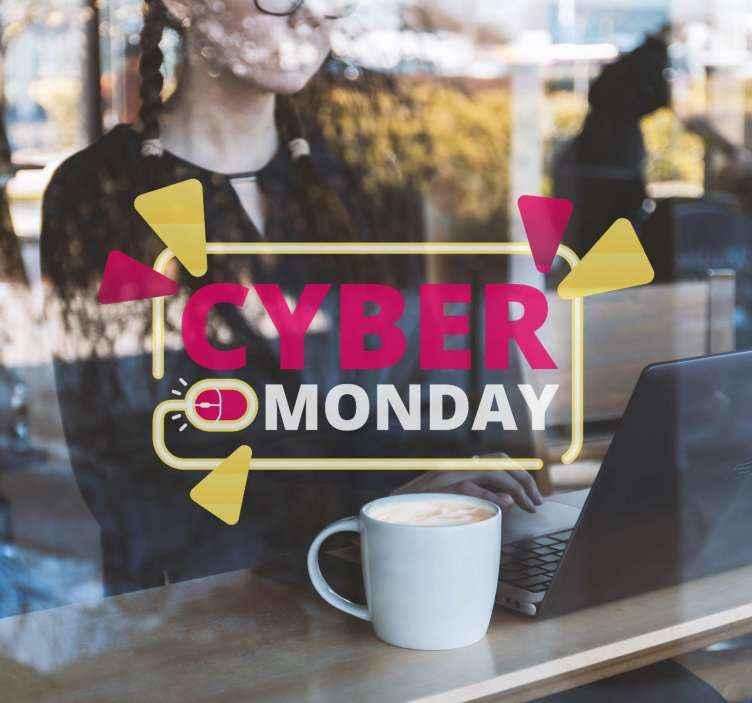 TenVinilo. Black Friday vinilo neón con ratón ordenador. Fantástico vinilo Cyber Monday para escaparates con diseño neón, triángulos y un ratón de ordenador creando un patrón original ¡Compra online!