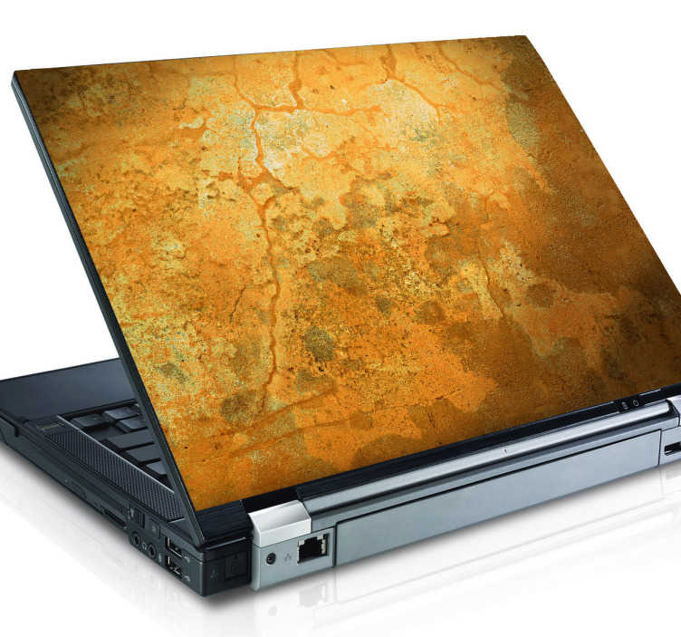 TenStickers. Gemaserter Laptop Aufkleber. Dekorieren Sie ihren Laptop mit diesem ungewöhnlichen Design, das an eine Lehmwand erinnert, neu.