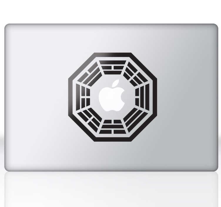 TenVinilo. Vinilo Dharma Lost para mac. Personaliza tu dispositivo Apple con este adhesivo. El reconocido icono de la serie Perdidos donde la manzana de tu ordenador o tablet completará el dibujo.