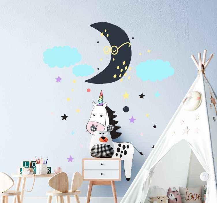 TenVinilo. Vinilo nórdico infantil con unicornio y luna. Deje que su hijo disfrute de la fantasía de hadas con este vinilo bebé estilo nórdico con estrellas, la luna y un unicornio ¡Envío a domicilio!