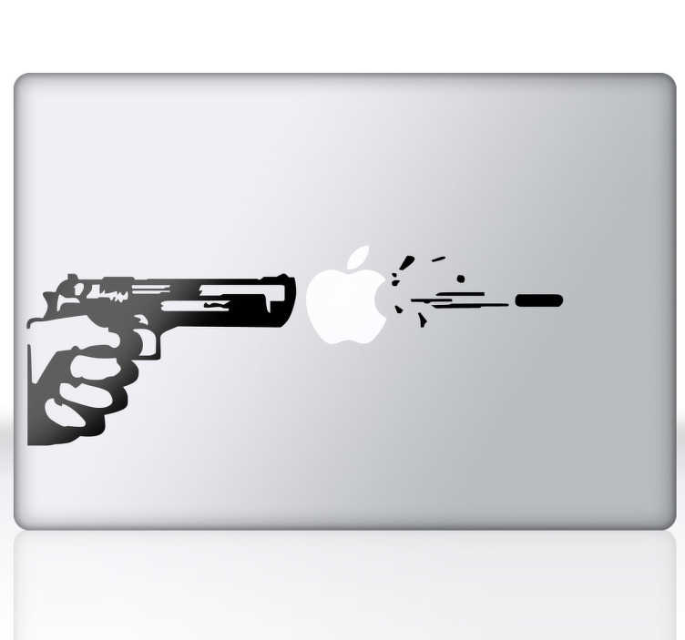 TenStickers. стикер пистолета mac. творческий дизайн силуэта стреляющего пистолета, чтобы украсить ваш mac или ipad! оригинальная наклейка из нашего эксклюзивного дизайна из нашей коллекции наклеек для macbook. эта удивительная наклейка играет с логотипом apple, чтобы сделать ее более увлекательной. удивите всех этим удивительным стикером ноутбука.