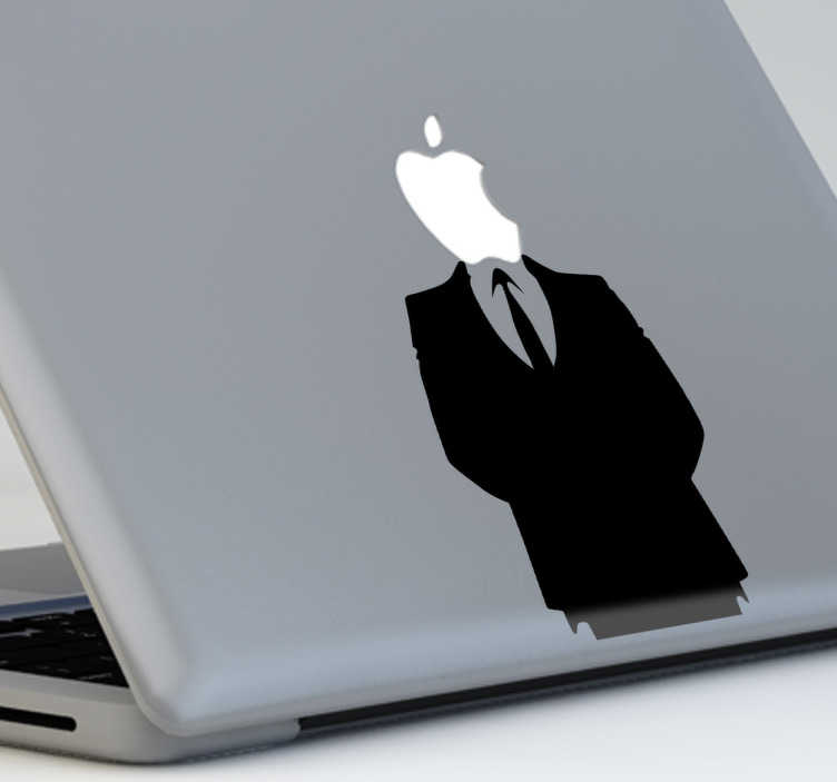 TenStickers. Apple Man MacBook Sticker. A cool apple Macbook sticker with the silhouette of a smart looking man with the Apple logo for a head.