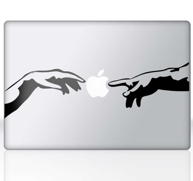 TenStickers. Michelangelo Divine Hands Mac Sticker. A superb decal illustrating Michelangelo's artwork. This art decal is from our collection of MacBook stickers. Is your Mac or laptop too plain?