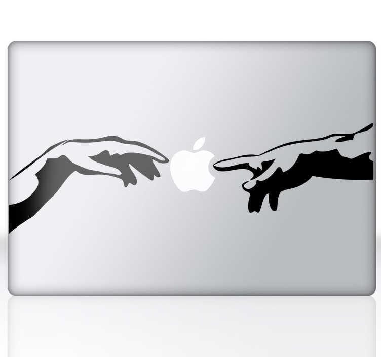 TenStickers. Michelangelo Hände iPad MacBook Aufkleber. Dieser Sticker wurde von Michelangelos Gemälde inspiriert. Ideal für Geräte von Apple, da die beiden Hände das Logo berühren.