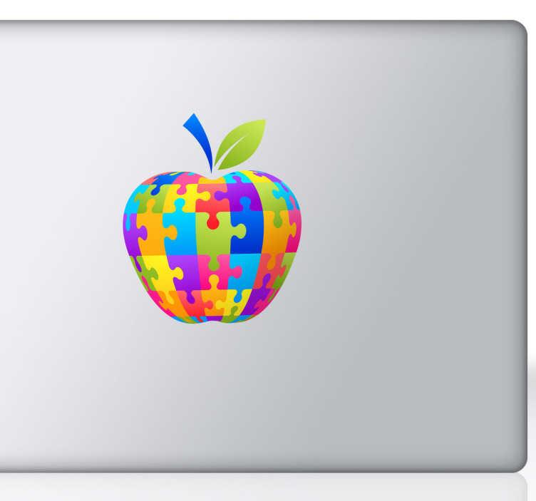 TenStickers. Sticker décoratif puzzle coloré pour MAC. Personnalisez votre MacBook ou autre dispositif Apple avec ce stickers d'une pomme faite de puzzles colorés. *Selon le format de votre dispositif les dimensions et proportions du stickers peuvent varier légèrement.