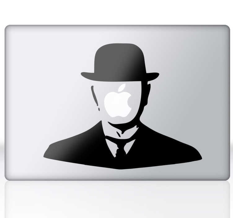 TenStickers. Sticker personaggio Magritte per Mac. Ricreazione di uno dei personaggi classici dell'opera del noto pittore belga , della corrente surrealista dei primi del novecento.