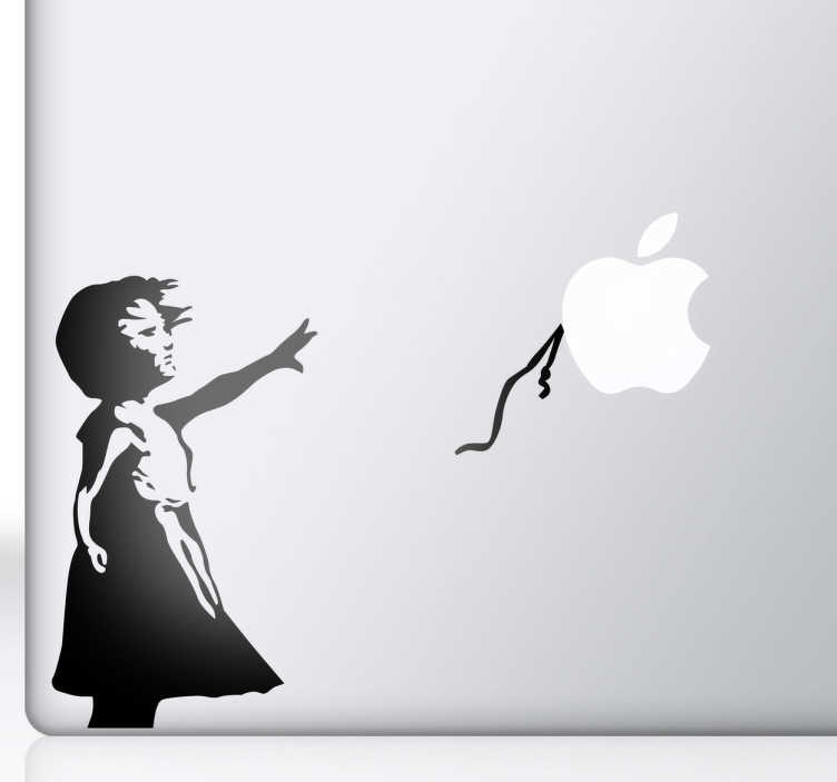 TenStickers. 与气球macbook贴纸的banksy女孩. 由banksy装饰你的mac或ipad的华丽艺术品。使用我们的macbook贴纸系列为您的设备提供原始外观。来自原始街头艺术品的着名气球已被您的苹果标志所取代。