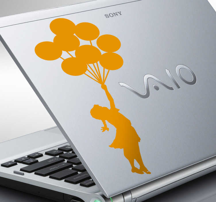 TenStickers. Girl with Balloons Banksy Laptop Sticker. A silhouette of a flying girl pulled by a string of balloons. A great design from our collection of Banksy stickers!