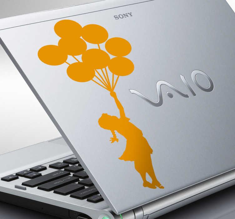 TenStickers. Sticker rapariga com balões para laptop. Sticker decorativo ilustrando uma rapariga ser elevada por um conjunto de balões. Autocolante decorativo inspirado na arte Banksy!