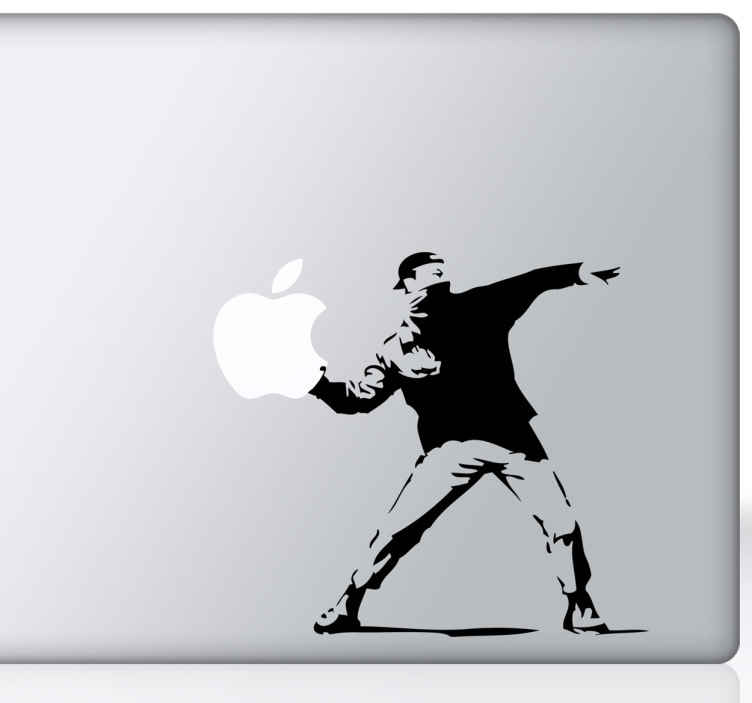 TenStickers. Banksy Revolution iPad MacBook Aufkleber. Ein Illustration von den Künstler Banksy, wobei die Blume durch das Apple Logo ersetzt wird. Personalisiere dein Gerät und hebe dich von der Menge ab.