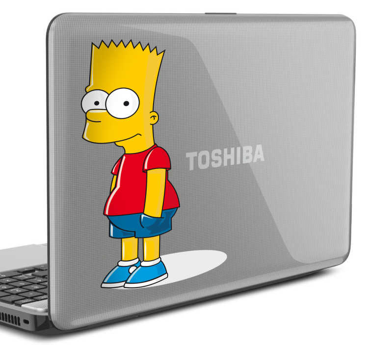 Naklejka na laptop Bart Simpson w kolorze