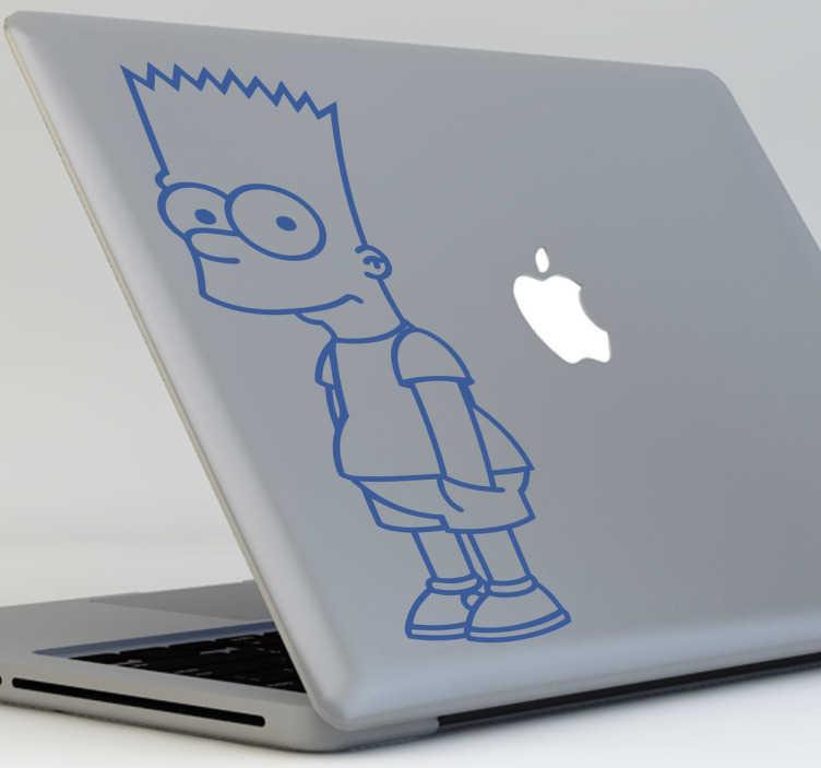 TenStickers. Autocolante decorativo para PC Bart Simpson em Linha. Este autocolante de programas de TV para PC do desenho de Bart Simpson em linha, é perfeito para tornar o teu computador num dispositivo único!