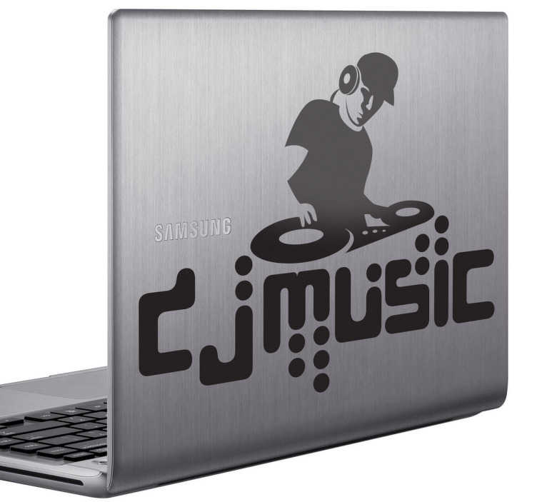 TenStickers. Dj muzică laptop sticker. Un autocolant monocrom pentru laptop care ilustrează o masă de amestec djs! Carte de muzică ideală pentru a decora laptopul sau echipamentul dj. Ia-ți jocul dj la un nou nivel personalizând propriul echipament dj cu acest decalaj personalizabil, disponibil în diferite dimensiuni și culori.