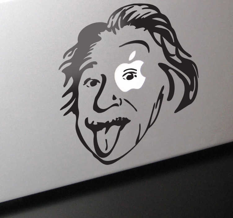 TenStickers. Einstein Apple Theme MacBook Sticker. This fantastic design illustrating the famous German scientist Albert Einstein. An exclusive design from our collection of Macbook Stickers.