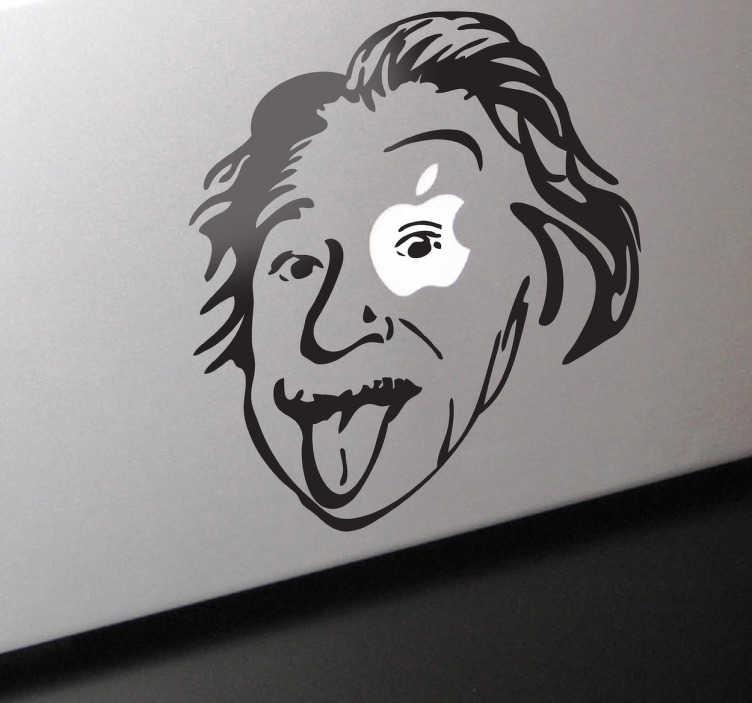 TenStickers. Sticker decorativo Einstein para MacBook. Sticker decorativo ilustrando a cara de Einstein, com a sua língua de fora, em que o logótipo da Apple ilumina o seu olho esquerdo.