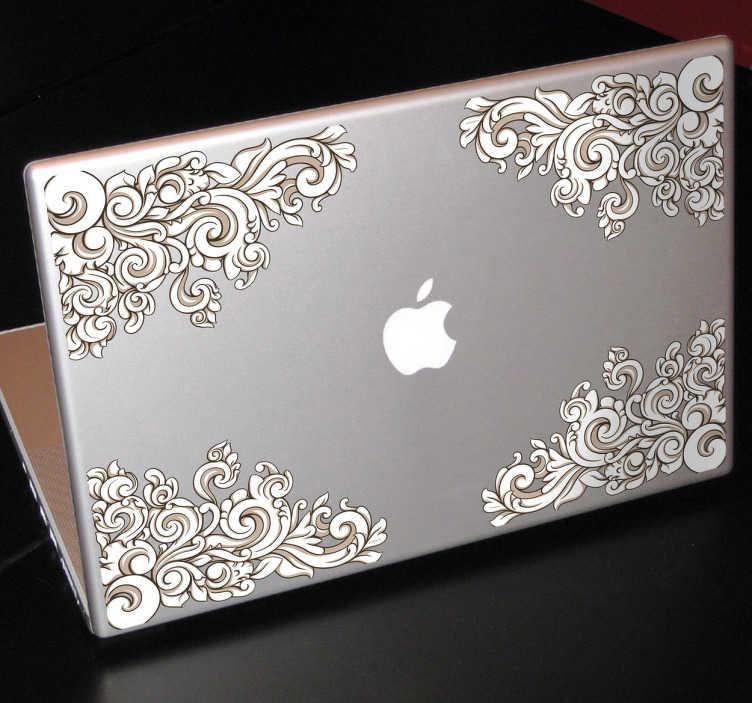 TenStickers. Sticker laptop decoreren. Een leuke set decoratie stickers voor het versieren van je laptop. Prachtige stickers met mooie krullen en ornamenten voor je laptop.