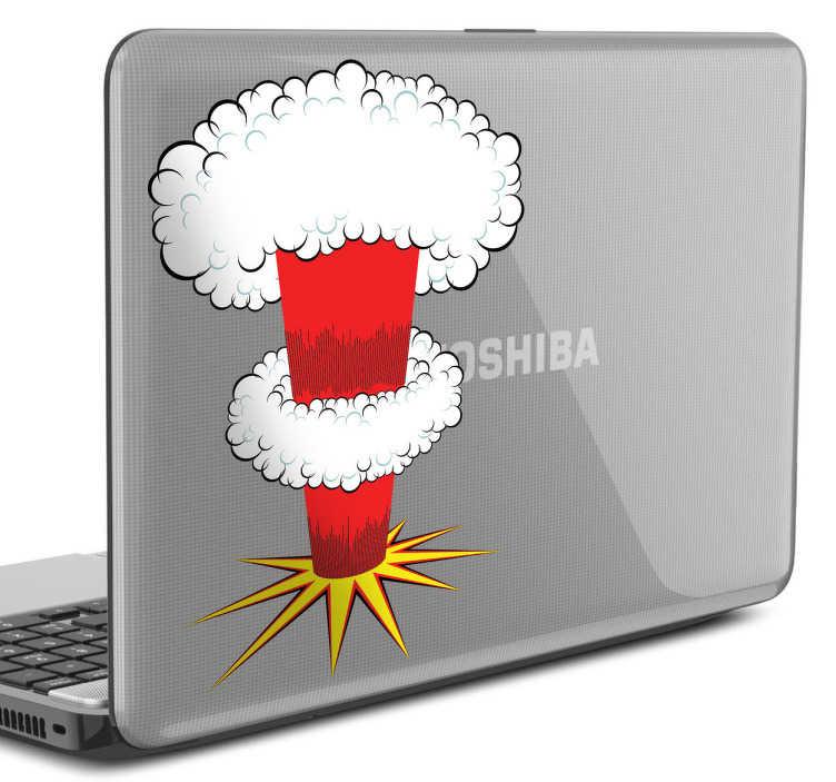 TenStickers. Naklejka na laptop eksplozja. Zabawna naklejka dekoracyjna na laptop, która przedstawia wybuch eksplozję bomby atomowej.