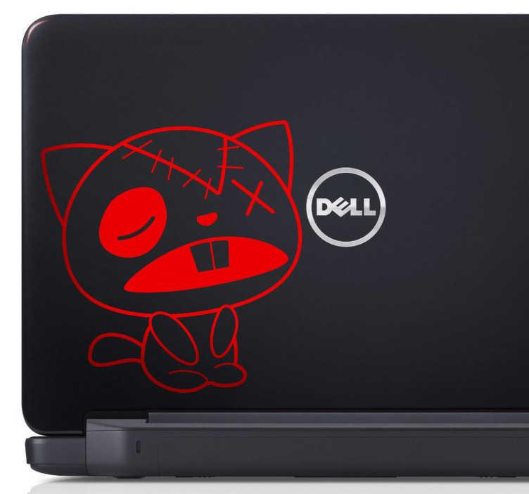 TenVinilo. Vinilo portátil gato de trapo. Si te gustan los gatos ponemos a tu disposición un divertido adhesivo de un felino con aire manga, algo estropeado y cansado.