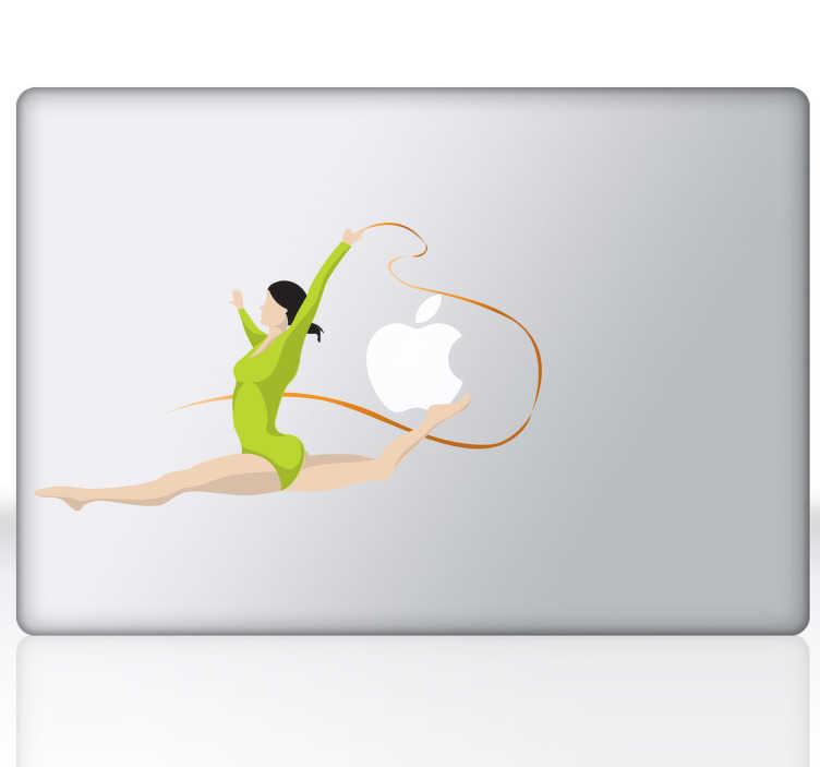 TenStickers. Sticker décoratif gymnaste PC portable. Personnalisez votre ordinateur portable avec ce stickers décoratif illustrant une gymnaste dans les airs.*Selon le format de votre dispositif les dimensions et proportions du stickers peuvent varier légèrement.