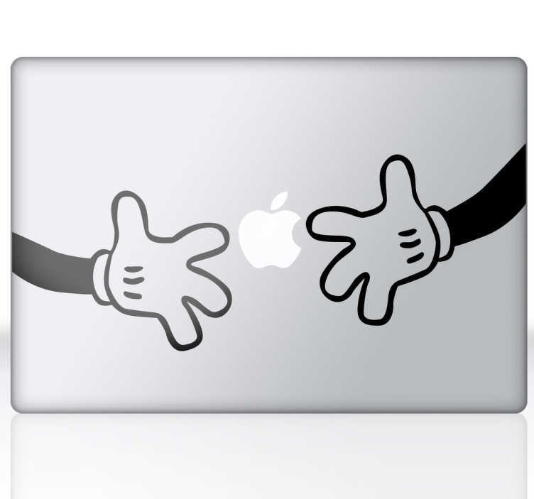 TenStickers. Mickeys Hands MacBook Sticker. A fun and cool way of redecorating your laptop or MacBook with this sticker from our MacBook stickers collection illustrating Mickey Mouse's hands.