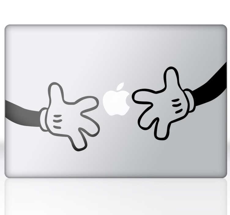TenStickers. Laptop Aufkleber Micky Maus Hände. Gestalten Sie Ihren Laptop und andere technische Geräte mit den coolen Micky Maus Hände Aufkleber!