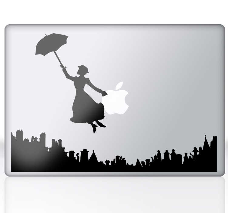 TenVinilo. Vinilo portátil Mary Poppins. Dibujo silueteado de la famosa protagonista de la película de Disney sobrevolando la ciudad en un paraguas. ¡Adhesivo supercalifragilísticoespialidoso!