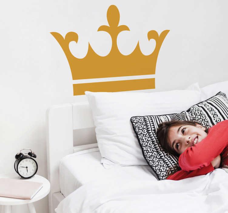 TenStickers. Naklejka na ścianę korona. Naklejka na ścianę przedstawiajaca królewską koronę. Naklejka symbolizująca władzę zmieni oblicze Twojego pokoju.