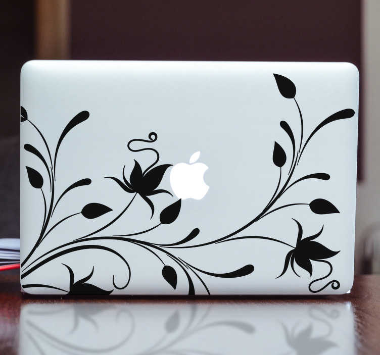 TenStickers. Adesivo per pc piante silhouette. Adesivo per Macbook con un tema floreale che funge da riquadro dello schermo e circonda la mela. Disponibile anche per PC