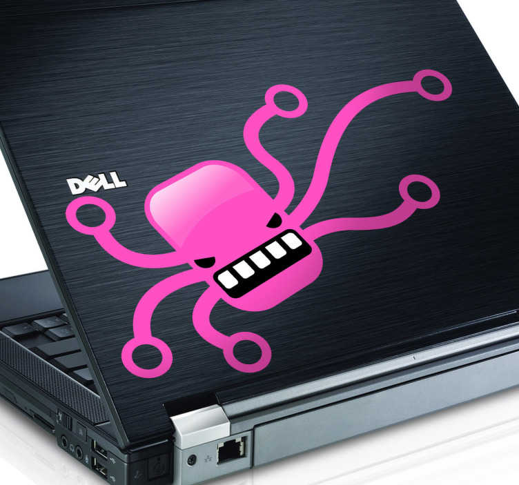 TenStickers. Skin adesiva pc piovra minacciosa. Sticker decorativo che raffigura un polpo stilizzato, di colore rosa, dall'aspetto piuttosto aggressivo.