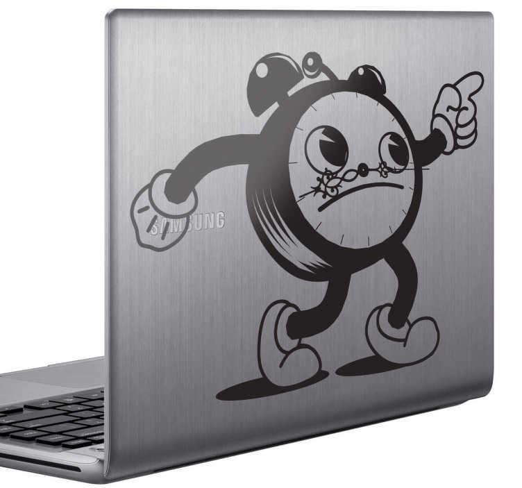 TenStickers. Sticker laptop klok wekker cartoon. Deze muursticker omtrent een laptopsticker met een ontwerp van een cartoonachtige wekker. Ideaal ter personalisatie van uw laptop!