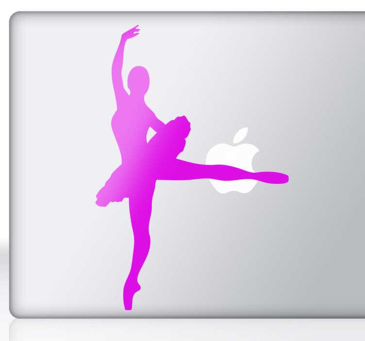 TenVinilo. Vinilo portátil silueta ballet. Para todos aquellos que sean aficionados a la danza clásica un adhesivo para su ordenador de una elegante bailarina con tutú.