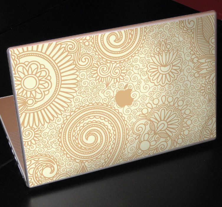 TenStickers. Sticker MAC Apple patroon bloemen. Decoreer de achterzijde van uw Macbook of ander apple toestel met dit mooie bloemenpatroon. In het midden van de sticker is het Apple logo te zien.