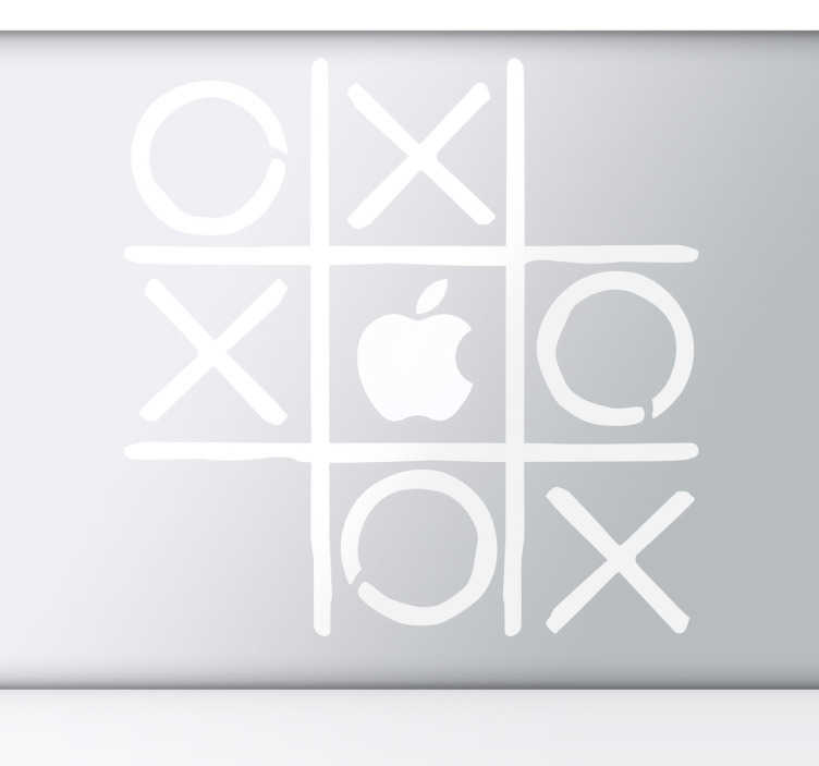 "TenStickers. Sticker Apple Boter Kaas en eieren. Personaliseer uw Macbook of ander Apple toestel met behulp van deze originele sticker. Deze sticker met het bekende spel ""Boter, kaas en eieren""."