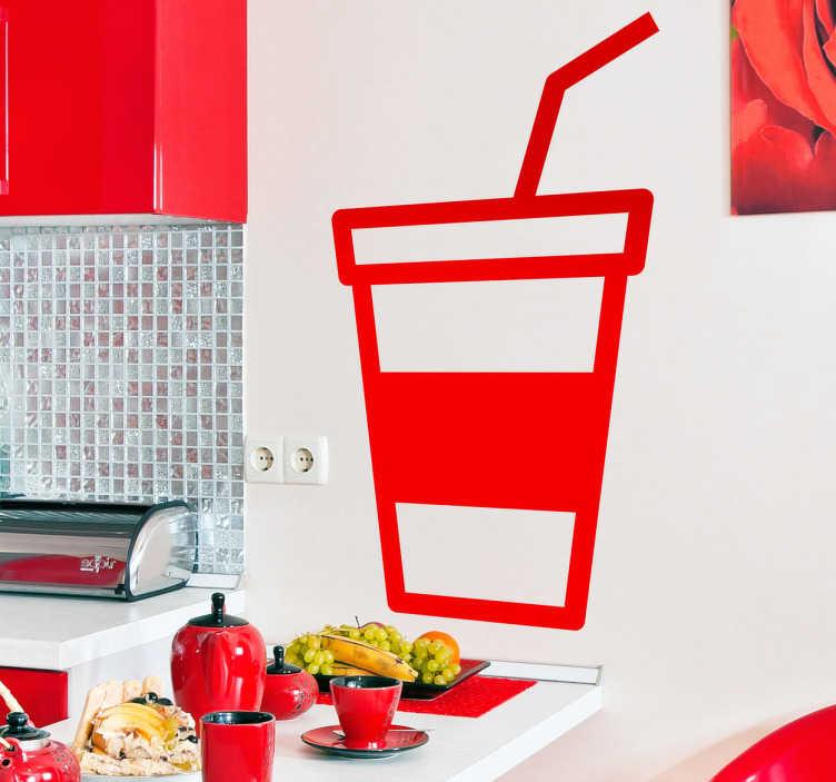 TenStickers. 밀크 쉐이크 벽 스티커. 음료 벽 스티커 - 테이크 아웃 컵 및 짚의 그림. 우리의 비닐 스티커 고품질, 안티 버블 비닐에서 만들어 적용해야합니다.