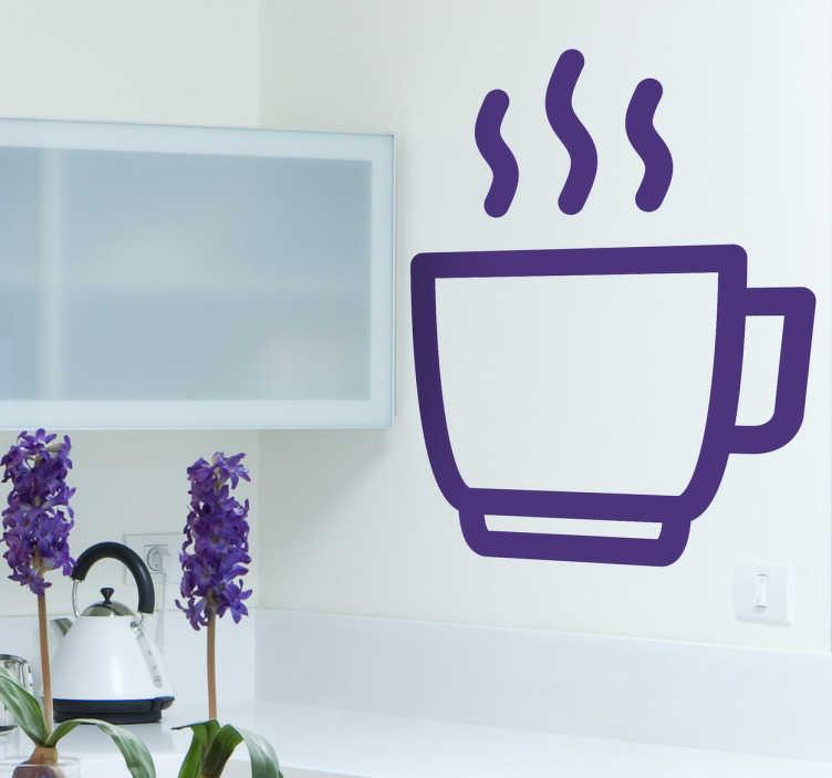 TENSTICKERS. ホットコーヒーのアイコンの壁のステッカー. キッチンの壁のステッカー - あなたの台所を飾るためにコーヒーの壁のステッカーの私達のコレクションからのコーヒーの熱いカップの幻想的な設計。