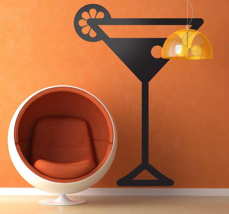 TenStickers. Naklejka logo drink koktajl. Klasyczny kieliszek martini z oliwką i cytrynką. Elegancka naklejka na ścianę dla wszystkich wielbicieli trunku i Jamesa Bonda.