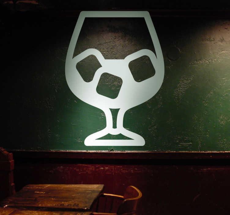 TenStickers. Sticker pictogramme boisson coupe. Décorez les murs de votre cuisine avec ce pictogramme représentant un verre rempli de glaçons. Illustration par la Brigade Creativa.