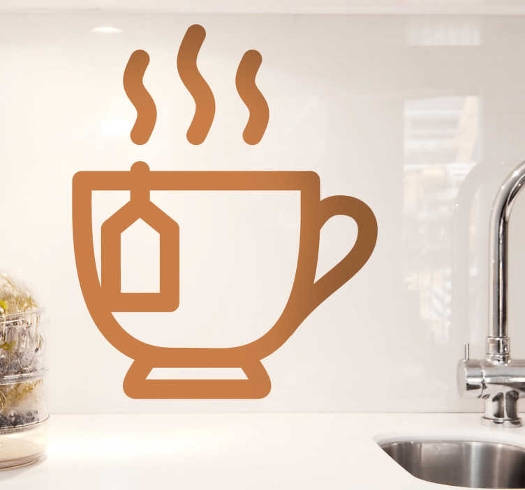 TenStickers. Sticker cuisine pictogramme infusion. Décorez les murs de votre cuisine avec ce stickers représentant une infusion de thé dans une petite tasse. Illustration originale par la Brigade Creativa.