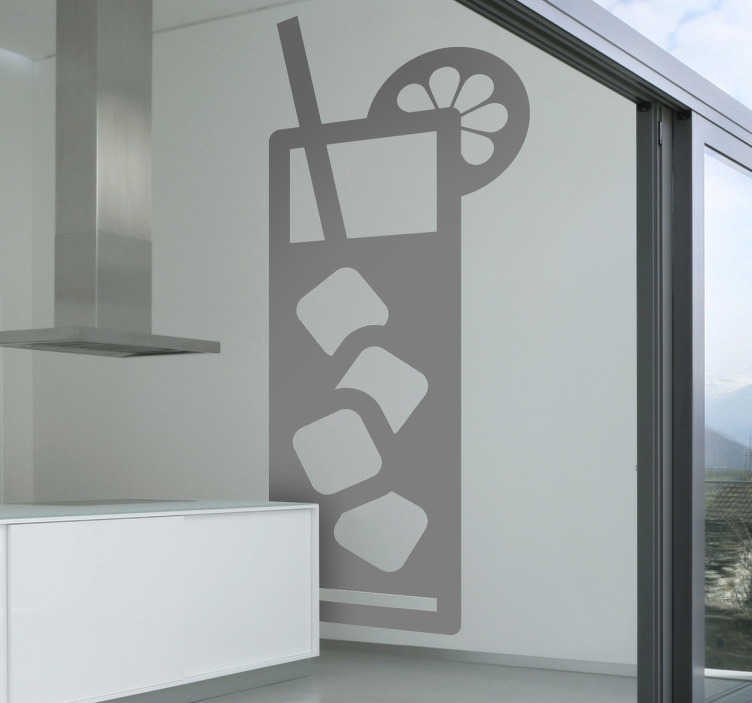 TenStickers. Cooling Drink Wall Sticker. A refreshing drinks wall sticker illustrating a cooling drink with ice! This monochrome wall sticker is perfect for decorating your own bar, cafe or home. Attract more customers with this superb design!